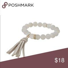 Matte White Agate tassel bracelet Matte White Agate stretch tassel bracelet Jewelry Bracelets