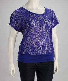 Take a look at this Royal Blue Lace Plus-Size Cutout Top by CS Focus on #zulily today!