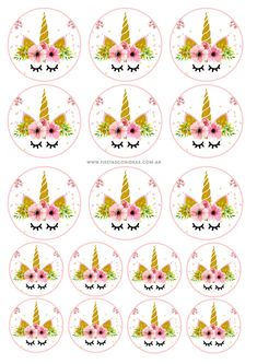 Toppers de Unicornios likes, 55 comments – Decor & Festa Unicorn Themed Birthday Party, Unicorn Birthday Invitations, Rainbow Birthday, Diy Birthday, Birthday Party Decorations, 1st Birthday Parties, Deco Cupcake, Unicorn Cupcakes Toppers, Unicorn Printables