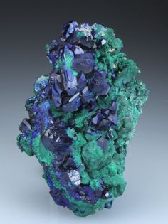 AZURITE and MALACHITE Minerals And Gemstones, Crystals Minerals, Rocks And Minerals, Stones And Crystals, Gem Stones, Mineralogy, Beautiful Rocks, Rocks And Gems, Natural Crystals