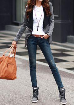 Front view of girl in grey oblique zipper cardigan