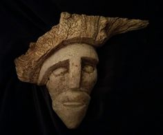 ancien masque old mask bois massif racine loupe époque a identifier 38X30 cms