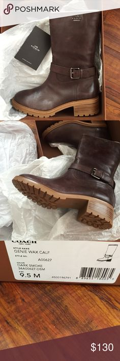 Coach mid calf boots Coach mid calf boots/dark smoke style is Genie wax calf/New in the box/ Price is Firm. No bundle on this item.😲😲 new in box. With care book. Sold out item in Macy's and other stores. Especially for this size Coach Shoes Winter & Rain Boots