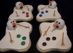 Melting snowman cookies. Sugar cookie dough, M for buttons.