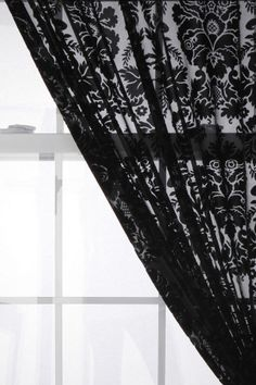 Damask Velvet Burnout Curtain.... This will go great in my black, grey, and red room/bathroom!