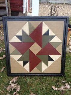 PRiMiTiVe Hand-Painted Barn Quilt - 3' x 3' Double Aster Pattern