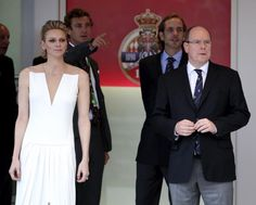 Prince Albert II of Monaco and his wife Princess Charlene watch the last lap from the podium during the Monaco F1 Grand Prix | View photo - Yahoo News Philippines