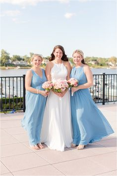 bride poses with bridesmaids in blue gowns in Red Bank NJ | Romantic fall wedding at the Molly Pitcher Inn photographed by New Jersey wedding photographer Idalia Photography. Planning a wedding at Molly Pitcher Inn? Find ideas here! #IdaliaPhotography #MollyPitcherInnWedding Custom Wedding Dress, Wedding Dresses, Nj Wedding Venues, Red Bank, Bridesmaid Getting Ready, Bride Poses, Bridal Parties, Wedding Gallery, Intimate Weddings