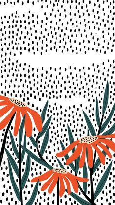 Download premium vector of Orange daisies on a polka dot background vector