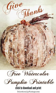 Free fall watercolor pumpkin printable - plus 22 more amazing fall printables eclecticallyvintage.com