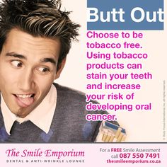 Using tobacco products can stain your teeth and increase your risk of developing oral cancer. www.thesmileemporium.co.za #SmileDocs #SmileDeals #DrSherylSmithies #southafrica #Durban #MusgraveRoad #thesmileemporium #dentalpractice #confidence #cosmeticdentistry #dentaljob #tmj #dentistryservices #implantdentistry #invisalign #zoomwhitening #dentalcare #dentalfiller #preventivedentalcare #dentist #cosmetic #teeth #smile #healthtip #dentaltip