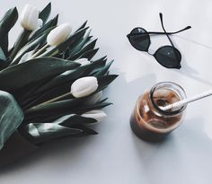 White tulips & iced coffee