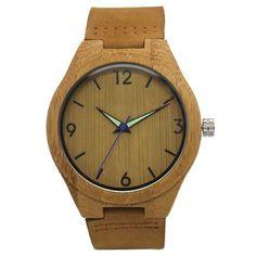 db15542bdbb Natural Bamboo Wooden Wristwatch With Genuine Leather Band. Madeira Natural Relógios De Madeira MasculinosÓculos ...