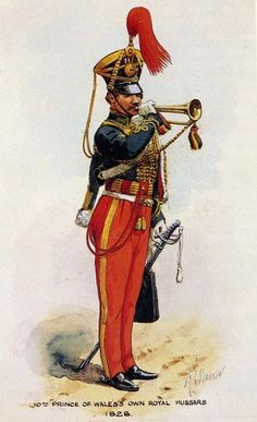 "BRITISH ARMY - ""10th Prince of Wales Own Royal Hussars, Trumpeter, 1828"" Richard Simkin"