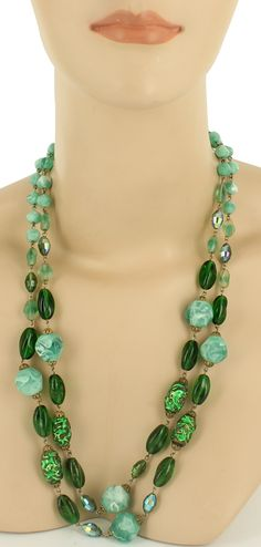 Vintage Green Venetian Foil Art Glass Lava Bead Marbleized Bead Dbl Necklace