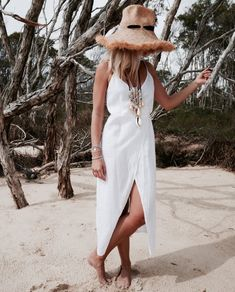 White Linen Summer Dress