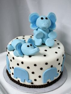 cute elephant baby shower cake