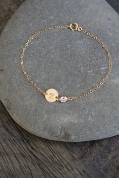 Items similar to Gold filled initial bracelet, cubic zirconia diamond cz solitaire, personalized custom stamped initial disc,customized engraved circle on Etsy Baby Jewelry, Womens Jewelry Rings, Cute Jewelry, Gold Jewelry, Women Jewelry, Jewelry Design Earrings, Jewelry Accessories, Jewelry Necklaces, Jewelry Trends