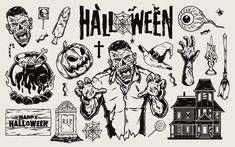 Monochrome Halloween vector illustrations with Zombies, candles, zombies' hands, a ghost house, pumpkins, Halloween lettering, etc. Download 21 Spooky Halloween designs on www.dgimstudio.com. 100% vector + editable texts. #halloween #halloween2020 #vector #vectorillustration #zombie #pumpkin