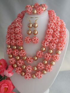 Marvelous African Nigerian Wedding Coral Beads Jewelry Set Luxury Ball Necklace Jewelry Set Free Shipping LK-2342 $92.31
