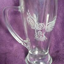 This+wonderful+coffee+mug+is+etched+with+a+Celtic+knot+work+owl.+Enjoy+your+favorite+beverage+with+wisdom  Sandblasted+for+a+food+safe+etching,+Not+tested+for+dishwasher+or+microwave+use.+Please+hand+wash.  I+ship+using+triple+sided+reinforced+boxes+and+ample+bubble+wrap.+I+use+USPS+Priority+...