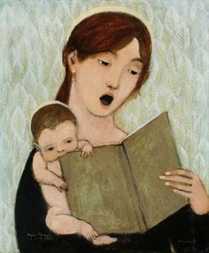 Singing Madonna and Child Brian Kershisnik 2007 It will make your hours pleasant to you as long as you live. Reading Art, Girl Reading, Reading Books, Mario Cesariny, Illustrations, Illustration Art, Brian Kershisnik, Fabio Moon, Claudia Tremblay