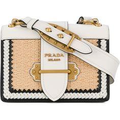 Prada White Cahier Raffia Shoulder Bag (€2.145) ❤ liked on Polyvore featuring bags, handbags, shoulder bags, bolsos, white, raffia purse, raffia handbags, shoulder bag purse, shoulder handbags and white handbag