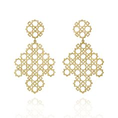 Zoe & Morgan Earrings | Ketama Large Lattice Gold Plate Silver Drop Earrings at EC One. These stunning statement earrings are inspired by lattice cut-outs from Morocco's timeless and distinctive architecture, aren't they just gorgeous?