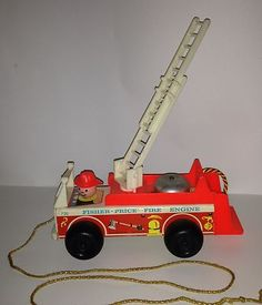 Antique Vintage Fisher Price Little People Firetruck Pull Toy | eBay