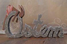 Schriftzug Ostern ..mit Einem kleinen Hase  von schönes aus Holz    -     made by me  auf DaWanda.com