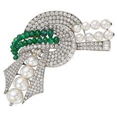 French Retro Diamond Emerald Pearl Scroll Bow Brooch