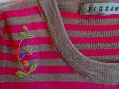 A favourite jumper: moth hole darned and embroidered