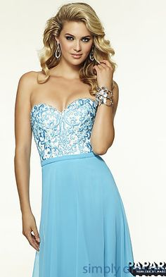 Mori Lee Embroidered Beaded Strapless Chiffon $298