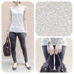 #ootd: grey sequin tank + grey skinny jeans