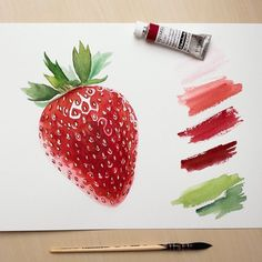 Strawberry watercolor on Behance