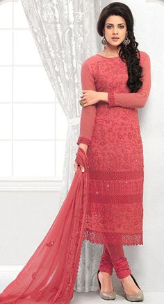 USD 37.24 Dark Peach Chiffon Straight Cut Churidar Suit 42635