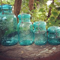Set of 4 Ball Ideal Mason Jars Blue Wire Bail by AntiquesbyHMD, $65.00