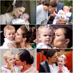 Crown Princess Victoria kissing her daughter and heir, Princess Estelle… She's so loved by her family!