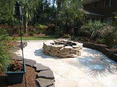 field rock fire pit idea | Steps and Staircases Water Features Privacy Plantings Seasonal Gardens ...