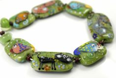 Lampwork bead set Cat and fish beads glass bead by GlassAfternoon