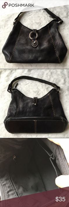 Fossil black leather satchel Good condition. Soft leather. Lining is in good condition. Loose thread on the corner but does not affect the wear of the bag. Some scratches on the buckle Fossil Bags Shoulder Bags