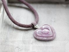 Fused Glass Necklace Purple Love Necklace by HeriniasJewelryChest, $75.00
