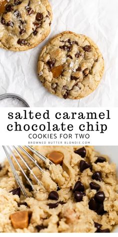 Salted Caramel Chocolate Chip Cookies For Two   Browned Butter Blondie   This chocolate chip cookie recipe is for two. A delicious small batch twist on my favorite classic chocolate cookies filled with puddles of rich, buttery caramel and pools of melted chocolate, these cookies are totally irresistible!