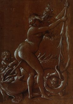 Hans Baldung 1485-1545, Young witch with dragon, black and white ink on brown paper.