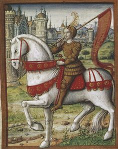 Joan of Arc depicted on horseback in an illustration from a 1505 manuscript. This Day in History: Apr Joan of Arc relieves Orleans Saint Joan Of Arc, St Joan, Jeanne D'arc, Jeanne Alter, Medieval World, Medieval Art, French History, Spiritus, Medieval Manuscript