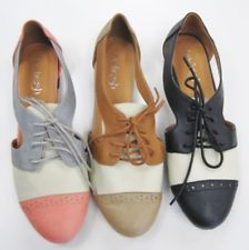 Womens Shoes Oxfords Ballet Flats Loafers Lace Ups Low Heels Two Tone Open  Sides 53334b4068e0