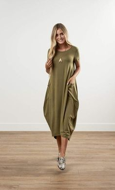 See the newest modest dresses, skirts, and tops from ModestPop! Modest Dresses, Modest Outfits, Modest Clothing, Cocoon Dress, Christian Clothing, House Dress, Teacher Outfits, Knee Length Dresses, Soft Fabrics