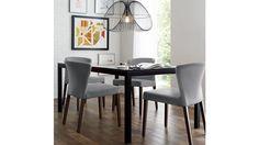 Dining room with darker flooring