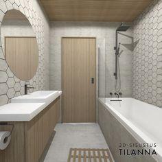 3D-sisustussuunnittelu/wc:n sisustussuunnittelu, harmaa kuusikulmainen laatta, mikrosementti, sormipaneeli katossa, valkovahattu tammi, pyöreä peili, musta suihku ja hanat, kylpyamme, seinän sisään liukuva eclisse liukuovi/3D-sisustus Tilanna Ecology Design, Scandi Style, Wabi Sabi, Minimalism, Bathtub, Interior Design, Deco, Bathroom Ideas, Home