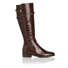 Denise Croc Print Leather Knee High Riding Boot
